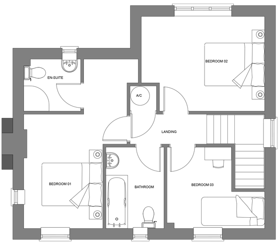Type J floor plan - first floor