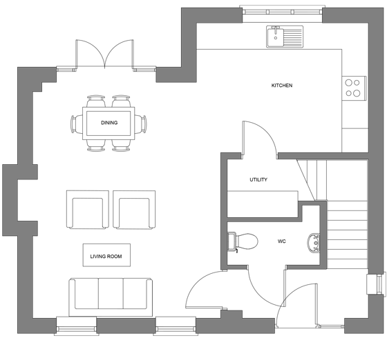 Type J floor plan - ground floor