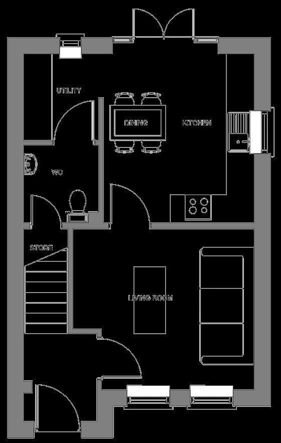 Type K floor plan - ground floor