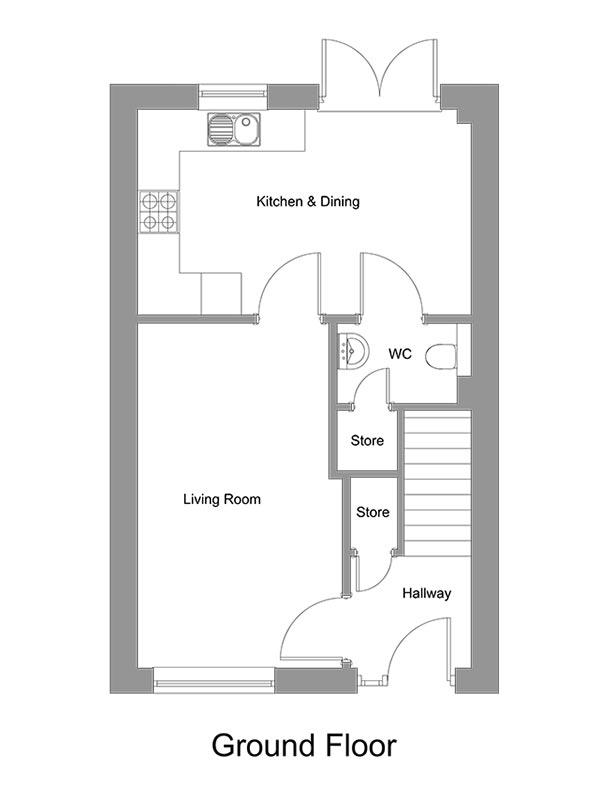 The room layout of the Lapwing ground floor.