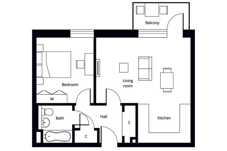 Property floor plan for a fourth floor one bedroom apartment