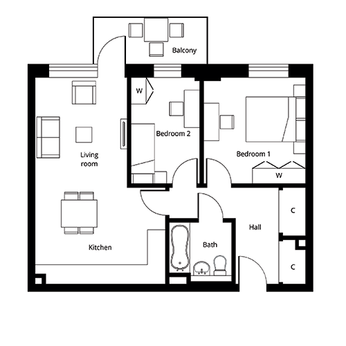 2 bed apartment floor plan at The Quadrangle - Second Floor