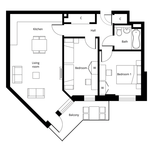 2 bed apartment floor plan at The Quadrangle - Second or Third Floor