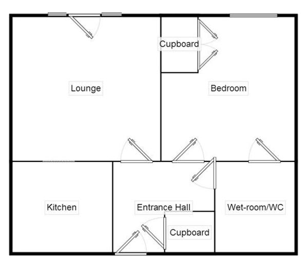 An example floor plan of the apartments at St Bartholomew's Court.