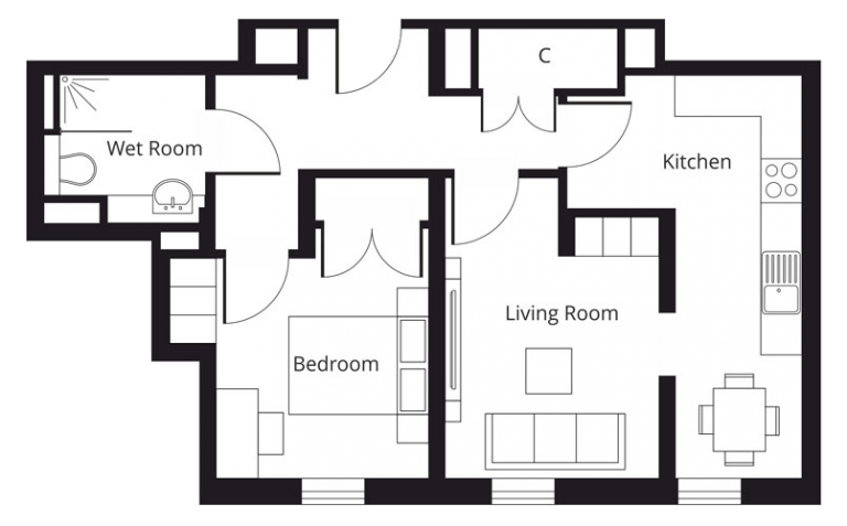 1 bedroom apartment floor plan at St Giles House