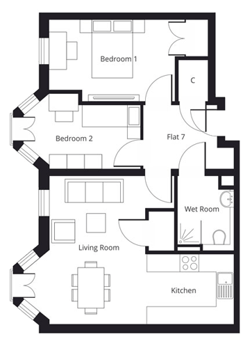 2 bedroom apartment floor plan at St Giles House