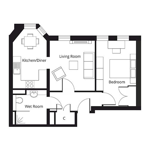 St Giles Floorplan of Apartment 5
