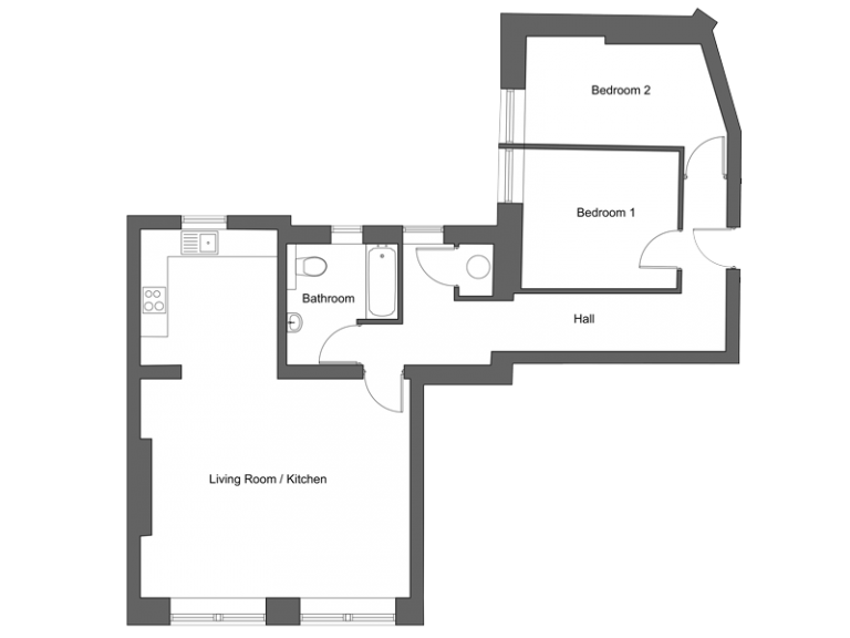 Floor plan for apartment 1 at our Station Square development in Harrogate.
