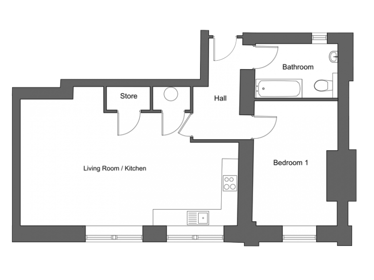 Floor plan for apartment 2 at our Station Square development in Harrogate.