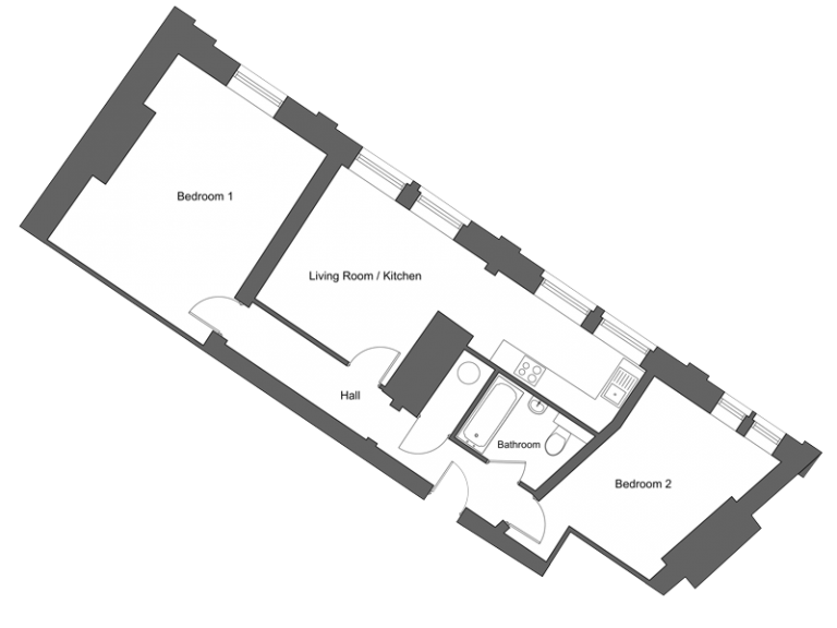 Floor plan for apartment 4 at our Station Square development in Harrogate.