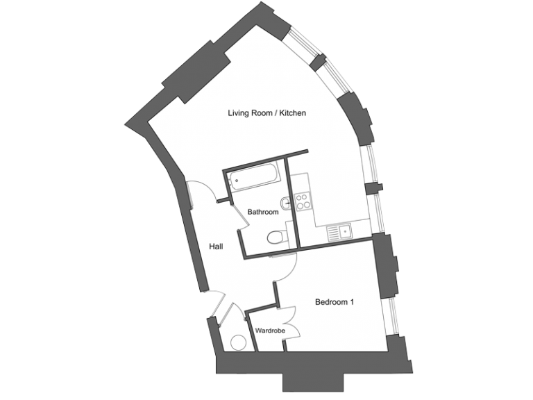 Floor plan for apartment 5 at our Station Square development in Harrogate.