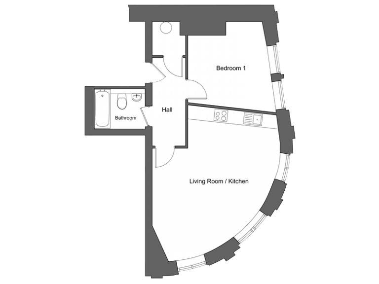 Floor plan for apartment 6 at our Station Square development in Harrogate.