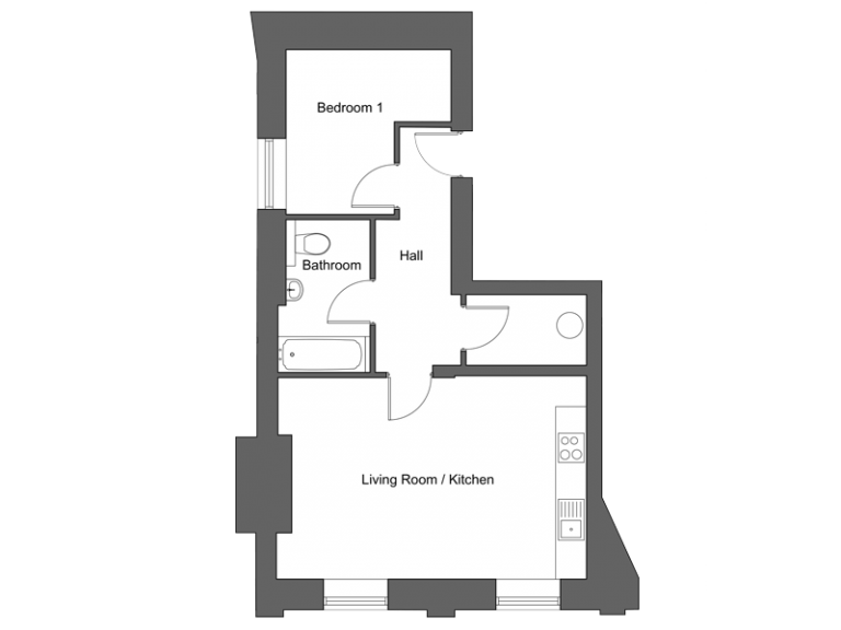 Floor plan for apartment 7 at our Station Square development in Harrogate.