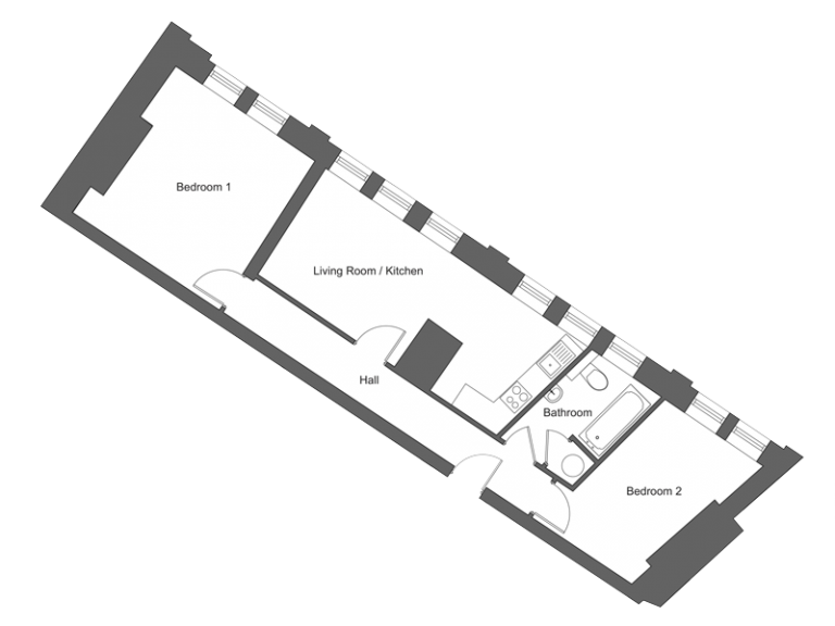 Floor plan for apartment 11 at our Station Square development in Harrogate.