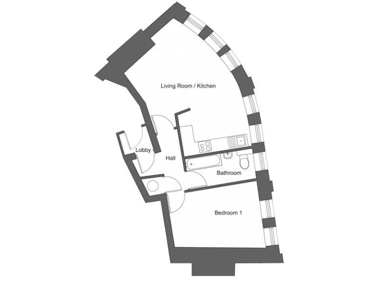 Floor plan for apartment 12 at our Station Square development in Harrogate.