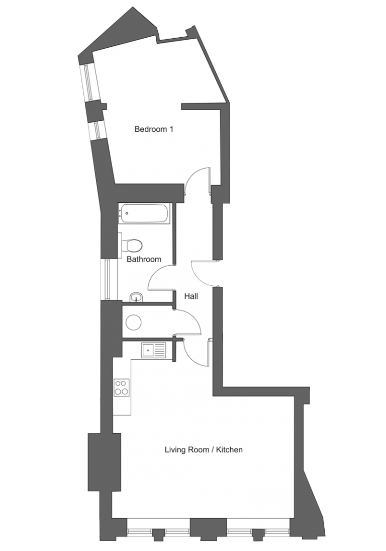 Floor plan for apartment 14 at our Station Square development in Harrogate.