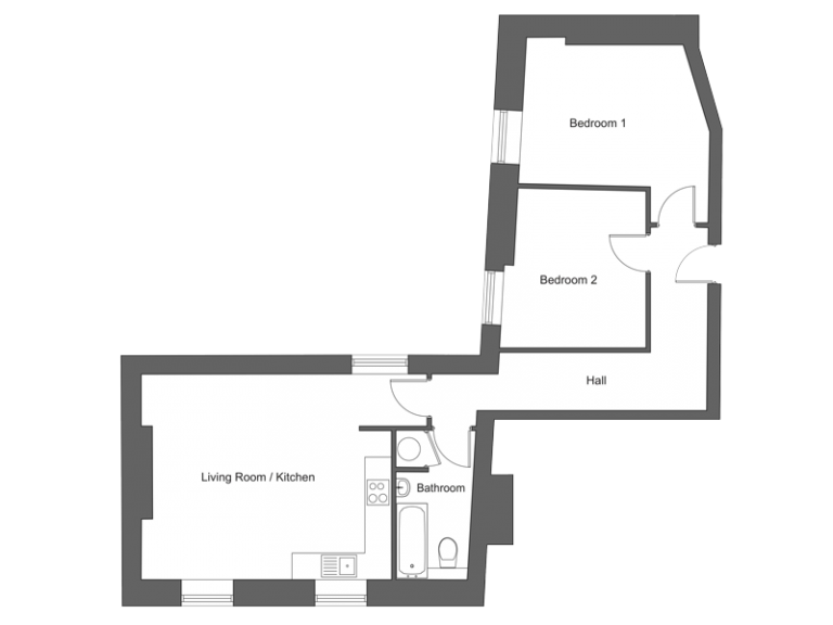 Floor plan for apartment 8 at our Station Square development in Harrogate.