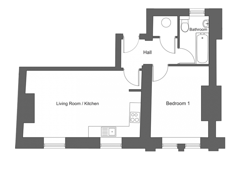 Floor plan for apartment 9 at our Station Square development in Harrogate.