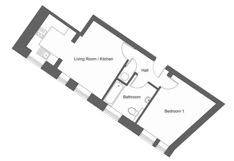 Floor plan for apartment 15 at our Station Square development in Harrogate.