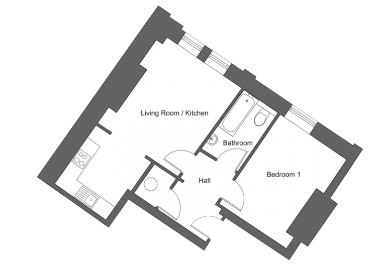 Floor plan for apartment 16 at our Station Square development in Harrogate.