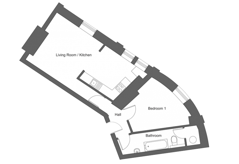 Floor plan for apartment 17 at our Station Square development in Harrogate.
