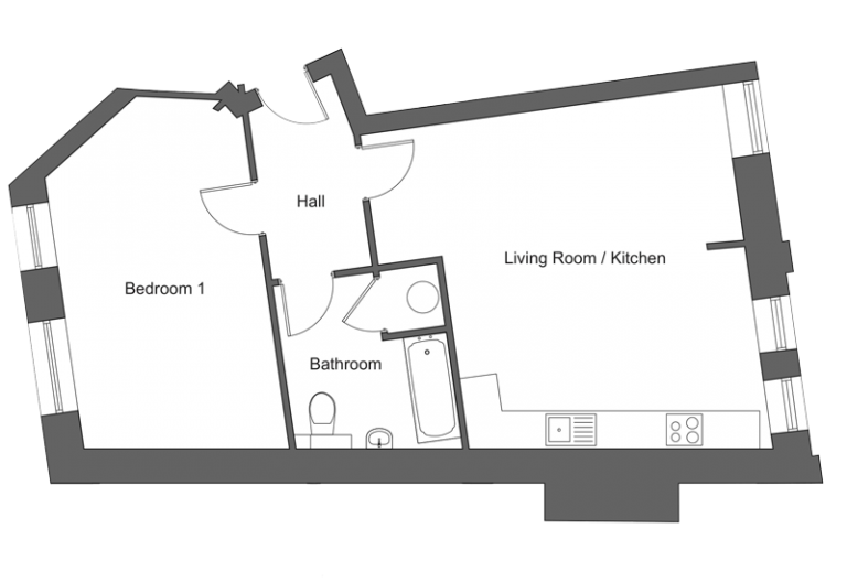 Floor plan for apartment 18 at our Station Square development in Harrogate.