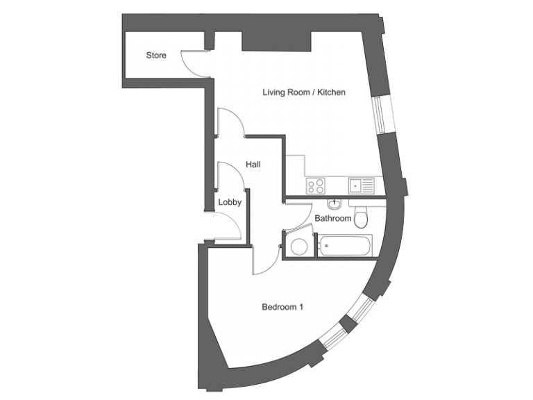 Floor plan for apartment 19 at our Station Square development in Harrogate.
