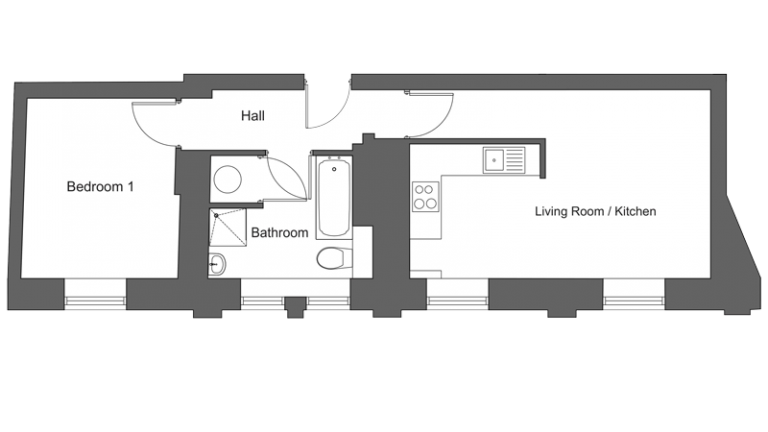Floor plan for apartment 20 at our Station Square development in Harrogate.