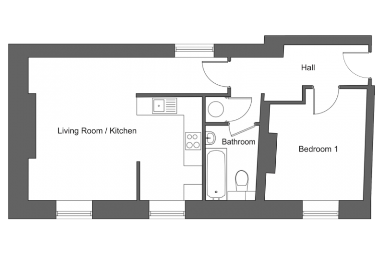 Floor plan for apartment 21 at our Station Square development in Harrogate.