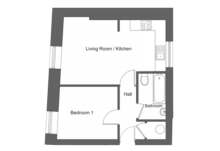 Floor plan for apartment 22 at our Station Square development in Harrogate.