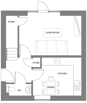The Ash ground floor floor-plan