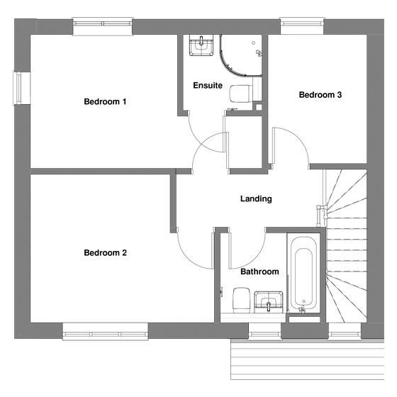 The floorplan of The Baldwin first floor
