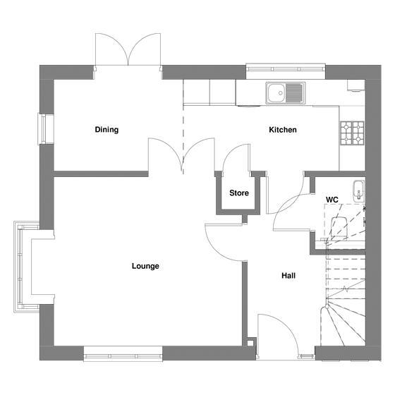 The floorplan of The Baldwin ground floor