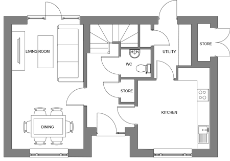 The Birch ground floor floor-plan