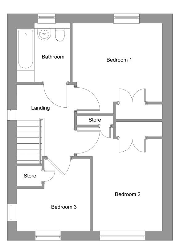 The floor plan of The Bonnie first floor.