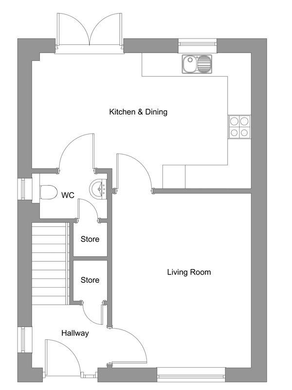 The floor plan of The Bonnie ground floor.