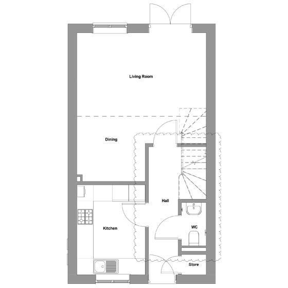 The floorplan of The Braeburn ground floor