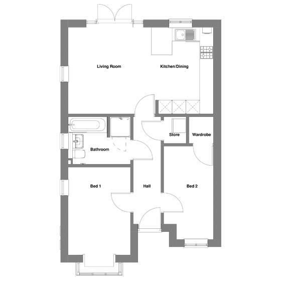 The floorplan of The Foxwhelp Bungalow