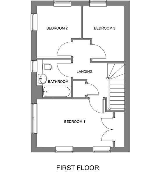 Floorplan showing the first floor of The Frinsted house at our Gatton Grove development