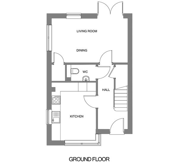 Floorplan showing the ground floor of The Frinsted house at our Gatton Grove development