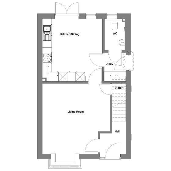 The floorplan of The Gala ground floor