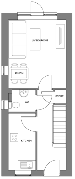 The Hawthorn ground floor floor-plan
