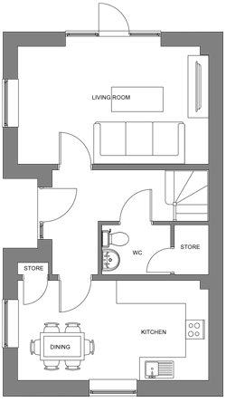 The Hazel ground floor floor-plan