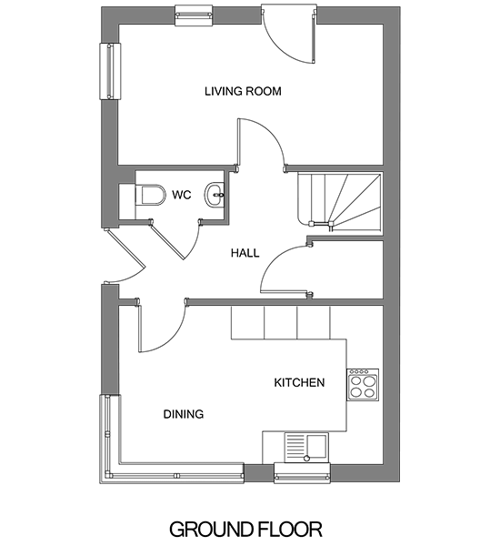 Floorplan showing the ground floor of The Leaveland house at our Gatton Grove development
