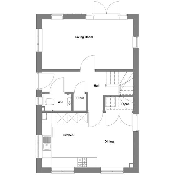 The floorplan of The Merton ground floor