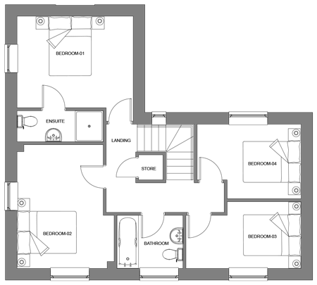 The Oak first floor floor-plan