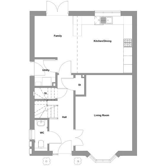 The floorplan of The Permain ground floor