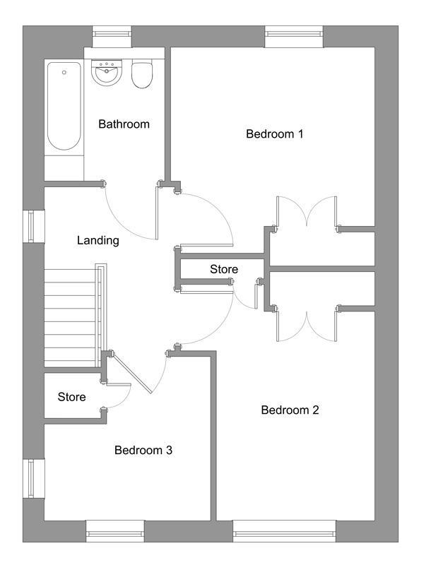 The floor plan of The Tannahill first floor.