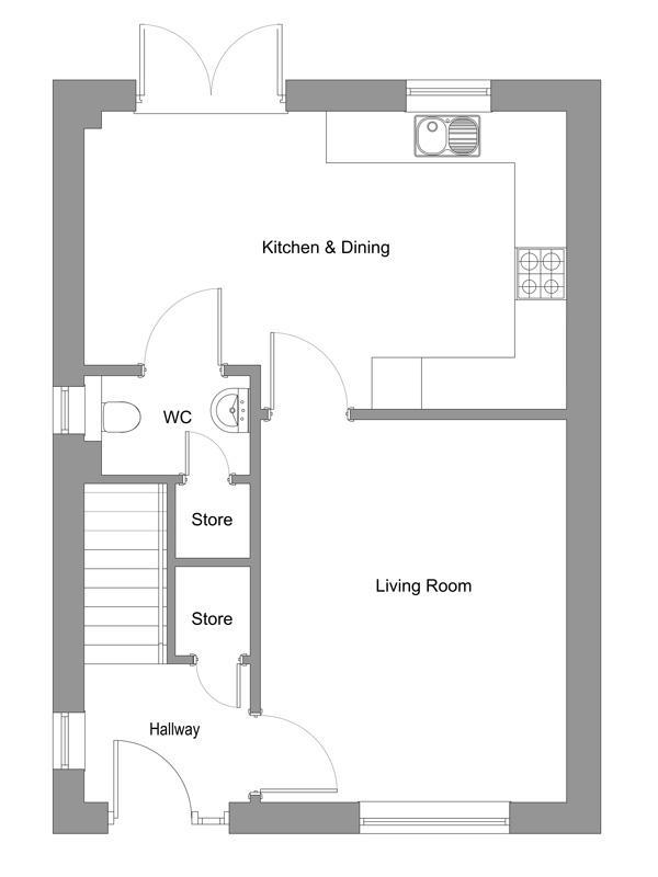 The floor plan of The Tannahill ground floor.