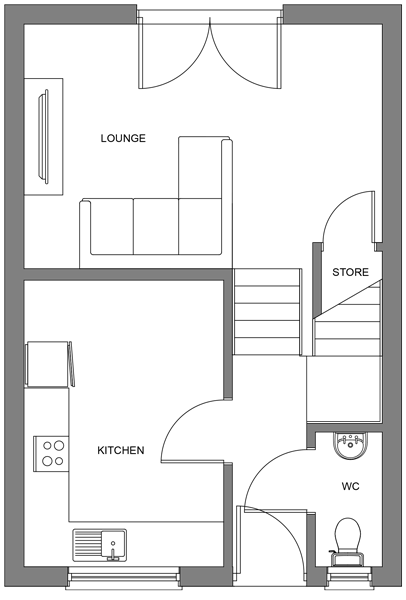 Ground floor floor plan of the 3 bedroom homes at Parc an Bre